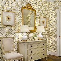 Sandra Morgan Interiors - entrances/foyers - gilt, mirror, white, gourd, lamps, ivory, vintage, chest, square back, French, chairs, cowtan and tout bamboo wallpaper, Cowtan &amp; Tout Bamboo Wallpaper,