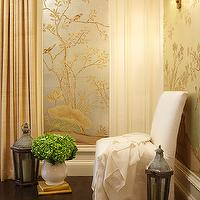 Hudson Interior Designs - entrances/foyers - brass, double sconce, metallic, gold, silver, wallpaper, white, slipper, chair, gold, linen, drapes, metallic wallpaper, chinoiserie wallpaper, chinoiserie metallic wallpaper,