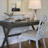 Jute interior Design - dens/libraries/offices - white chair, mirror, hourglass lamp, gray desk, grey desk, x base desk, limed desk, gray x desk, grey x desk, gray x base desk, grey x base desk, limed oak desk, Arteriors Cain Gray Limed Oak Desk,