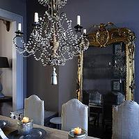 Alex MacArthur - dining rooms - gilt, floor mirror, charcoal, gray, walls, beaded, crystal chandelier, salvaged wood, dining table, French, vintage, chairs, gray rooms, gray walls, gray dining room, french dining room, french floor mirror, gold floor mirror, gilt floor mirror,