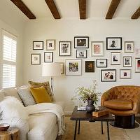 Jute interior Design - living rooms - espresso, wood beams, gold, rug, wool, herringbone, rug, sand, linen, sofa, orange, leather, vintage, tufted, chair, white, herringbone, throw, white, black, chevon, pillow, tripod, floor lamp, tree trunk, table,