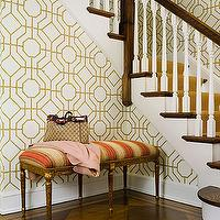 Sandra Morgan Interiors - entrances/foyers - orange, yellow, French, bench, Louis Vuitton, cowtan and tout bamboo wallpaper, Cowtan &amp; Tout Bamboo Wallpaper,
