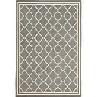 Rugs - Courtyard Poolside Dark Grey/ Beige Indoor Outdoor Rug (5'3 x 7'7) | Overstock.com - gray, quatrefoil, rug