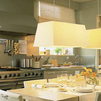 Deulonder - kitchens: gray, kitchen cabinets, stainless steel, countertops, tapered, linen, pendants, rectangular, dining table,  Lovely kitchen