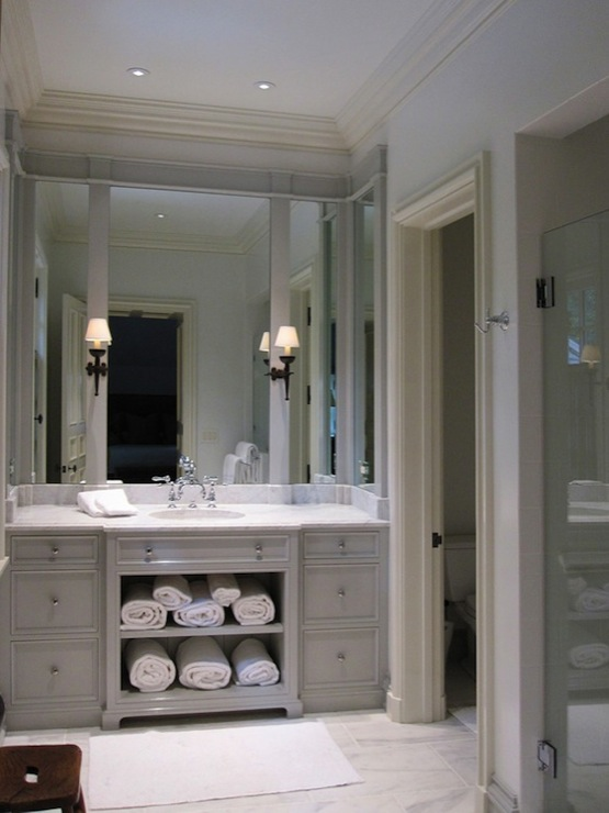 Light gray vanity transitional bathroom litchfield designs Bathroom design ideas gray