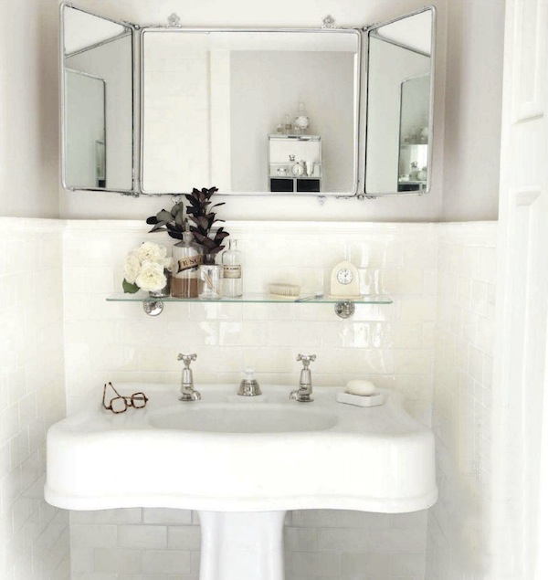 Restoration Hardware Vintage Glass Shelf Cottage Bathroom