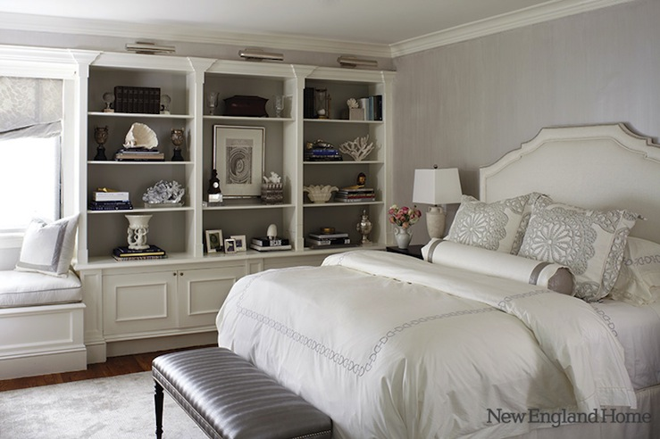 New England Home - bedrooms - gray, textured, walls, white, silk, bed, white, hotel bedding, gray, stitching, gray, leather, bench, nailhead trim, white, built0ins, shelves, painted, gray, picture lights, built-in, window seat, gray, damask, roman shade, gray and white room, gray and white bedroom, grey and white room, grey and white bedroom, gray bench, bedroom built ins, bedroom built in cabinets,