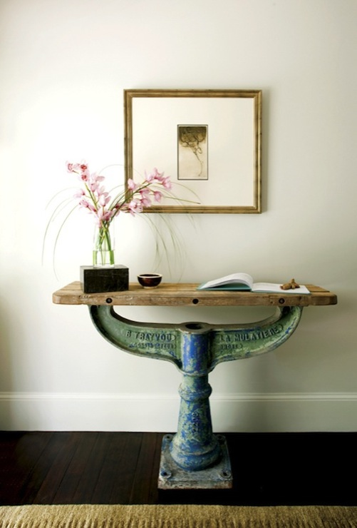 New England Home - entrances/foyers - gold, faux bamboo, gallery, frame, industrial, console, table, base, salvaged, wood, top, orchids, repurposed console table,