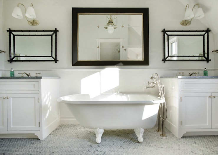 Black Bamboo Mirror Cottage Bathroom New England Home