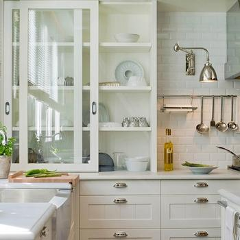 Deulonder - kitchens - stainless steel, apron, sink, glass-front, sliding, off-white, kitchen cabinets, light gray, honed, quartz, countertops, subway tiles, backsplash, sliding glass cabinets, sliding kitchen cabinets, sliding glass kitchen cabinets, glass front kitchen cabinets,