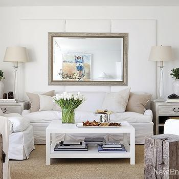 New England Home - living rooms - jute, rug, rustic, wood block, end tables, white, slipcover, sofa, chairs, burlap, pillows, limed, oak, gray, end tables, mirror, white, tulips, tapered, clear glass, lamps, white coffee table, white lacquer coffee table, white lacquered coffee table, parsons coffee table, white parsons coffee table, gray end tables, gray washed end tables, West Elm Parsons Coffee Table,
