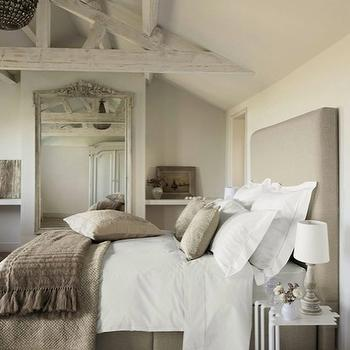 bedrooms - mushroom, linen, headboard, bed, white, nesting, tables, wood, baluster, lamps, pebble, rug, French, wood, framed, floor, mirror, taupe bedroom, monochromatic bedroom,