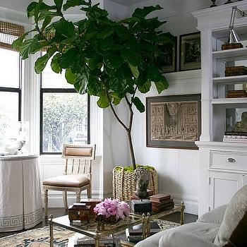 Grant K. Gibson - living rooms - woven, basket, built-ins, Greek key, pattern, linen, round, skirted, table, bay windows, antique, mirrored, coffee table, brass coffee table, antique brass coffee table, skirted table, greek key skirted table, greek key trim, fiddle leaf fig plant,
