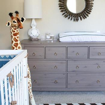 Erika Brechtel - nurseries - brass, ring, pulls, hemnes dresser, gray hemnes dresser, gray dresser, gray changing table, grey dresser, grey changing table, ikea gray dresser, West Elm Zig Zag Rug, Serena & Lily Rye Crib Set, FAO Schwarz Gentle Giant Giraffe,