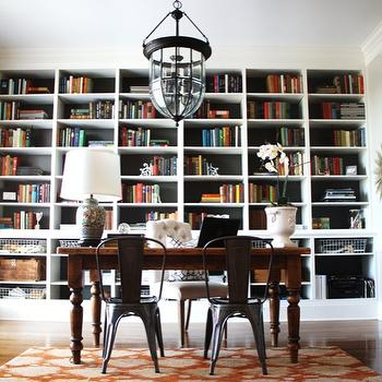 Built In Bookcases, Contemporary, den/library/office, Sherwin Williams Urbane Bronze (back of bookcases), Worldly Gray (walls), Emily A. Clark
