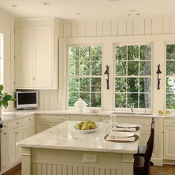 Beadboard kitchen cabinets transitional kitchen for Black beadboard kitchen cabinets