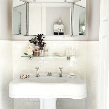 bathrooms - gray, walls, pencil, rail, subway tiles, backsplash, glossy, white, pedestal, sink, vintage glass shelf, bathroom glass shelf, Restoration Hardware Vintage Glass Shelf,