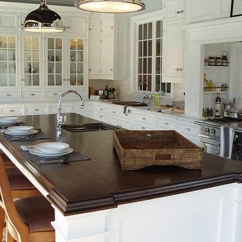 kitchens - marble, herringbone, backsplash, white, kitchen cabinets, marble, countertops, white, kitchen island, espresso, stained, beveled, countertop, sink in kitchen island, butcher block countertop, beveled butcher block countertop,