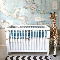 Pottery Barn Map Wall Decal Serena & Lily Rye Crib Set, West Elm Zig Zag Rug, FAO ...