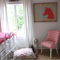 Sally Wheat Interiors - girl's rooms - white, metal, bed, pink, duvet, white, pink, zig zag, chevron, chair, white, drapes, chevron chair, chevron print chair, pink chevron chair, white and pink chevron chair, pink chevron print chair, white and pink chevron print chair,