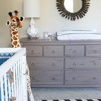 Beautiful boy's nursery design with West Elm Ribbon Mirror, Ikea Hemnes 8 Drawer ...