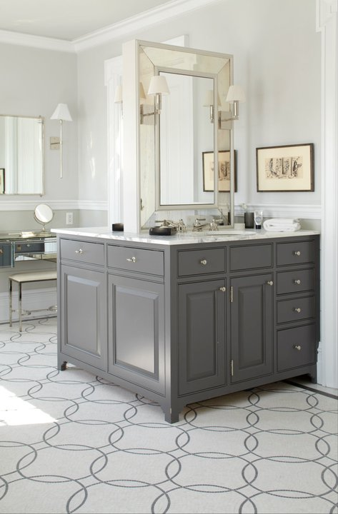 Peter Zimmerman Architects - bathrooms - back to back, single, gray, bathroom vanity, marble, countertop, beveled, mirror, light gray walls, chair rail, dark, gray walls, mirrored, vanity, gray, mosaic, tiles, floor, sconces, gray bathroom, gray bathroom cabinets, gray bathroom vanity, double sided vanity, double sided bathroom vanity,