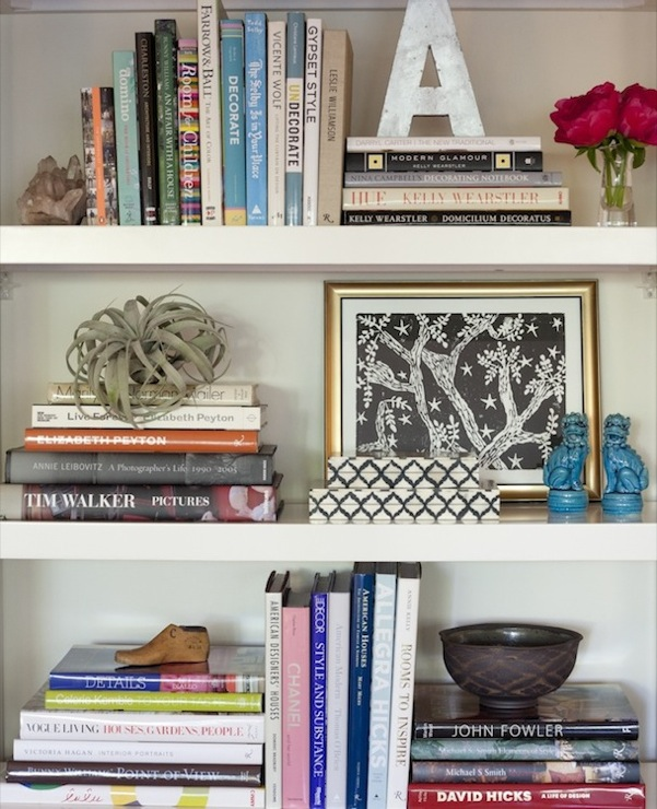 Amanda Teal Design - dens/libraries/offices - West Elm parsons Tower- White, bookshelf, vignette, mini, turquoise, blue, foo dogs, silver, wood letter, gold leaf, frame, books, foo dogs, blue foo dogs, turquoise foo dogs, turquoise blue foo dogs,