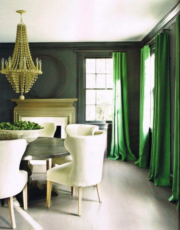 Kay Douglass - dining rooms - Arteriors Maurice Chandelier, kelly green, silk, drapes, dark, gray, walls, fireplace, zinc, round, pedestal, table, ivory, linen, dining chairs, green drapes, green curtains, green window panels,