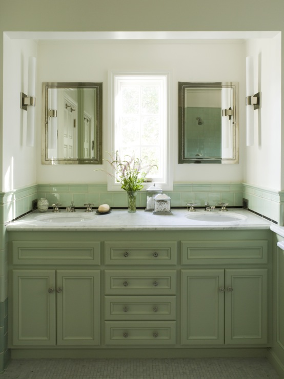 Green bathroom cabinets