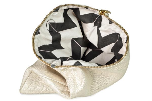 Miscellaneous - Hammocks & High Tea Chevron Reversible Gold Clutch - gold, black, chevron, reversible, clutch