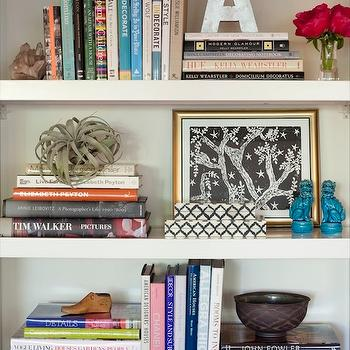 Amanda Teal Design - dens/libraries/offices - bookshelf, vignette, mini, turquoise, blue, foo dogs, silver, wood letter, gold leaf, frame, books, foo dogs, blue foo dogs, turquoise foo dogs, turquoise blue foo dogs, West Elm parsons Tower- White,