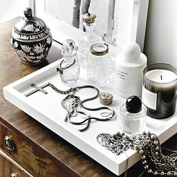 bedrooms - vignette, vintage, chest, white, lacquer, tray, jewelry, silver, frame, white lacquer tray,  via sacramentostreet.com  LOVE! Fantastic