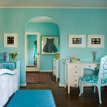 Coddington Design - girl's rooms - Girl's bedroom, turquoise, bed, chair, desk, dress, dresser, bench, antique, chair, footboard, red, turquoise bench, turquoise ottoman, turquoise blue bench, turquoise blue ottoman, turquoise bedroom, turquoise blue bedroom, turquoise bedroom walls, turquoise blue bedroom walls,
