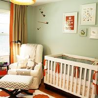 Charm Home Design - nurseries - white, orange, rug, green, crib bedding, green, walls, white, blue, chevron, stool, white, slipcover, glider, woven, pendant, BabyLetto Harlow Crib, Thom Filicia Citysquare - Terratone, Zig Zag Chevron in Village Blue and Natural, Ikea Boja Pendant, DIY Hand Painted Ikea Rug, Pier 1 Imports Plush Animals - Grey Owl,