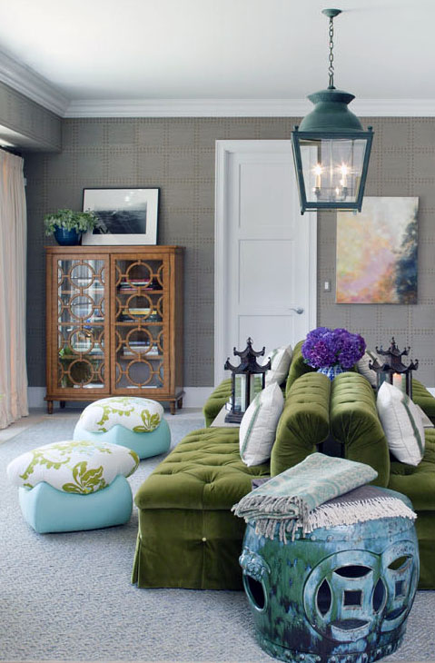 living rooms - gray grasscloth wallpaper turquoise blue garden stool back-to-back kelly green tufted settee blue cushions vintage circles glass-front cabinet peacock blue lantern purple accents