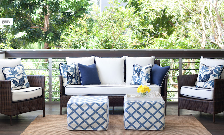 Suzie: Diane Bergeron  Chic white & blue deck patio design with chocolate brown wicker outdoor ...