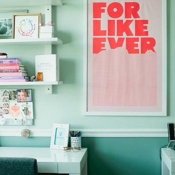 The Glitter Guide - dens/libraries/offices - light green walls, chair rail, dark green, walls, two tone walls, West Elm Parsons Desk - White, For Like Ever Print,