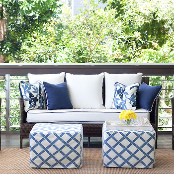 Diane Bergeron Interiors - decks/patios - chocolate, brown, outdoor, wicker, furniture, white, cushions, blue, piping, jute, rug, blue, peacock, pillows, blue, pillows, white, blue, lattice, faux bamboo, slipcover, cube, ottomans, slipcovered ottomans, slipcovered cube ottomans,