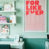 The Glitter Guide - dens/libraries/offices - light green walls, chair rail, dark green, walls, West Elm Parsons Desk - White, For Like Ever Print,