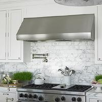 Diana Sawicki Interior Design - kitchens - white, shaker, kitchen cabinets, marble, countertops, marble, subway tiles, backsplash, pot filler, wheatgrass, plants, marble, marble subway tile, marble backsplash, marble backsplash tile, marble kitchen, marble subway tile kitchen,
