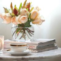 Erika Brechtel - living rooms - vintage, china, peach, roses, Saarinen Side Table, Diptyque Candle,  So pretty! Marble Saarinen accent table,