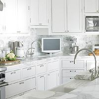 Diana Sawicki Interior Design - kitchens - tv, round, sink, white, shaker, kitchen cabinets, marble, countertops, marble, subway tiles, backsplash, wheatgrass, plants, farmhouse, sink, kitchen island, TV, gooseneck faucet, gooseneck kitchen faucet,