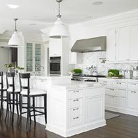 Diana Sawicki Interior Design - kitchens - double ovens, wheatgrass, plants, industrial, white, hanging, kitchen island, pendants, glossy, black, counter stools, drop down, kitchen cabinet, marble, countertops, marble, subway tiles, backsplash, pot filler, shaker cabinets, white shaker cabinets, shaker kitchen cabinets, white shaker kitchen cabinets,