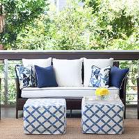 Diane Bergeron Interiors - decks/patios - chocolate, brown, outdoor, wicker, furniture, white, cushions, blue, piping, jute, rug, blue, peacock, pillows, blue, pillows, white, blue, lattice, faux bamboo, slipcover, cube, ottomans,