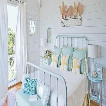 bedrooms - iron, bed, painted, blue, turquoise, blue, round, tables, nightstands, white, lamps, groove walls, blue, skirted, bench, blue, riffled, pillows, seafan, art, sea fan, seafan, sea fan decor, seafan decor, sea fan art, seafan art, turquoise bed, turquoise blue bed, turquoise nightstand, turquoise bench, turquoise bedroom, turquoise blue bedroom,