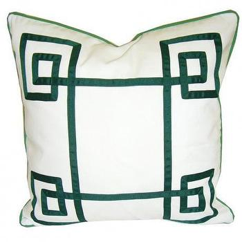 Pillows - White & Green Fancy Greek Key Pillow - white, green, fancy, greek, pillows