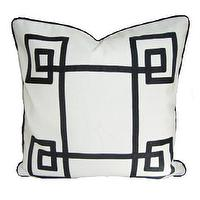 Pillows - White & Black Fancy Greek Key Pillow - white, black, fancy, greek key, pillow