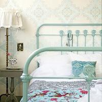 bedrooms - ivory, blue, wallpaper, seafoam, green, iron, vintage, bed, gray, painted, table, nightstand, brass, vintage, floor lamp,  via pinterest
