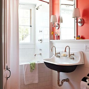 Traditional Home - bathrooms - tangerine, orange, walls, inset, medicine cabinet, white, blue, stripe, bath mat, rug, subway tiles, shower surround, brockway sink, tangerine paint colors, tangerine walls, tangerine bathroom walls, Restoration Hardware Lugarno Single Sconce, Kohler Sink,