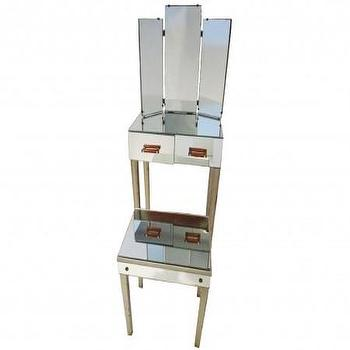 Storage Furniture - vintage vanity with stool - Vintage Furniture - RUMMAGE - vintage, mirrored, vanity, stool
